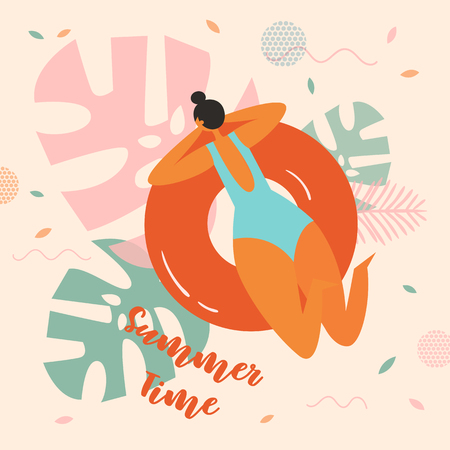 Pretty girl on swimming ring. Women relaxing in a pool with resting on inflatable orange donut mattress. Tropical palm leaves floral backgorund. Summer time lettering text. Vector flat cartoon Ilustração