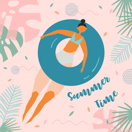 Summer time lettering. Pretty woman swims, tanning on life buoy. Girl floating on swimming circle on tropical background. Inflatable circle. Summer holiday, vacation, travel