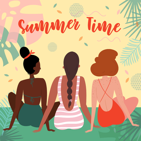 Summer time lettering text. Three women on vacation, sitting in swimsuit on the beach in an embrace and admiring the view. Black and white interracial group. Vector flat cartoon, tropical background Illustration