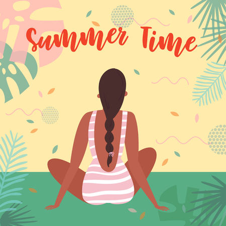 Summer time lettering text. Woman on vacation, sitting in swimsuit on the beach in an embrace and admiring the view. Card for inspiration. Vector flat cartoon, tropical background Ilustração