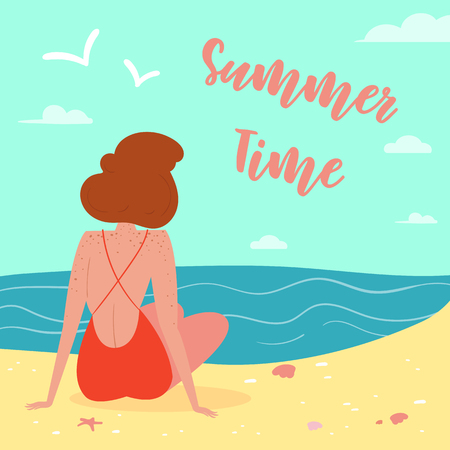 woman wearing swimsuit on the beach, seen from behind. Summer time letering text. Sun, sand, sea, water, clouds, starfish, coral and seagulls Vector cartoon flat illustration