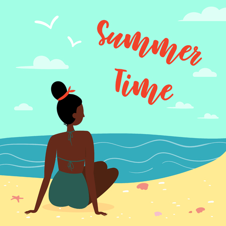 Sexy black woman, wearing swimsuit on the beach, seen from behind. Summer time letering text. Sun, sand, sea, water, clouds, starfish, coral and seagulls Vector cartoon flat illustration