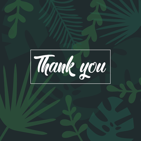 Thank you lettering. Tropical palm green leaves, jungle leaves seamless vector floral pattern background. Message of thanks on tropical, fabric like monstera plant texture