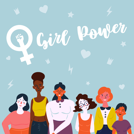 Girl power lettering text and female symbol. Diverse international and interracial group of standing women. For girls power concept, feminine and feminism ideas, woman empower and role card design Ilustração