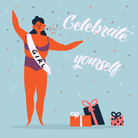 Celebrate yoursel, be good to yourself greeting card. Beautiful athlete, trapecial woman in bikini, birthday whistle and ribbon have celebration party. Feminist and woman power poster. Vector cartoon