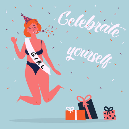 Celebrate yoursel and be good to yourself greeting card. Beautiful slim, red haired woman in bikini, birthday cap and ribbon have celebration party. Feminist and woman power poster. Vector cartoon