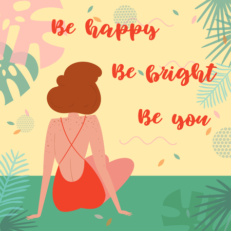 Be happy. Be bright, be you lettering text. Woman on vacation, sitting in swimsuit on the beach in an embrace and admiring the view. Card for inspiration. Vector flat cartoon, tropical background Ilustração