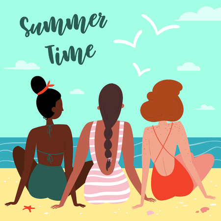 Three sexy woman, wearing swimsuits and bikini on the beach, seen from behind. Summer time letering text. Sun, sand, sea, water, clouds, starfish, coral and seagulls. Vector flat cartoon illustration