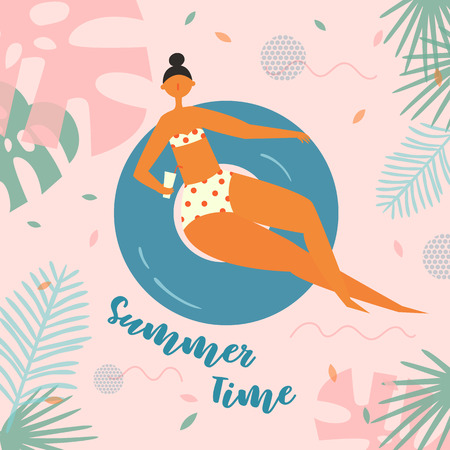 Summer time lettering. Pretty woman swims, tanning on life buoy. Girl floating on swimming circle with cocktail on tropical background. Inflatable circle. Summer holiday, vacation, travel Illustration