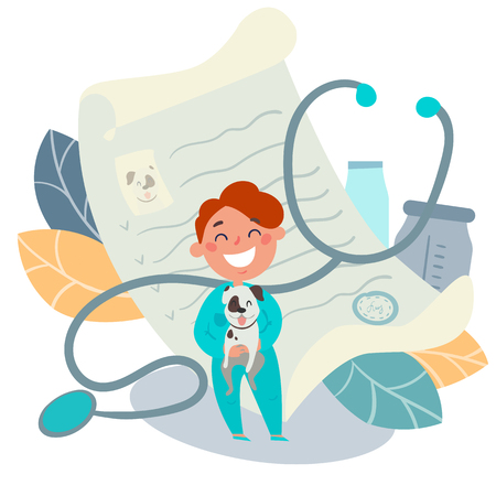 Kids profession. Small boy with a dog as a pet doctor, veterinarian. Future professional. Recipe, stethoscope, drugs prescription on background. Vector stock illustration