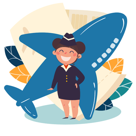 Children profession. Small girl as a stewardess. Future occupation job. Flight attendant kid. Airplane and ticket on background. One from the set. Vector flat illustration