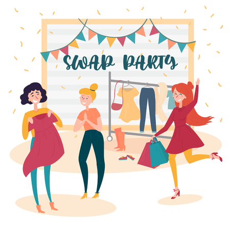 Three young social and eco responsible girls at fashion swap party. Reduce and reuse concept. Idea of exchange your old wardrobe for new. Eco-friendly cloth exchange. Vector cartoon style illustration Ilustração