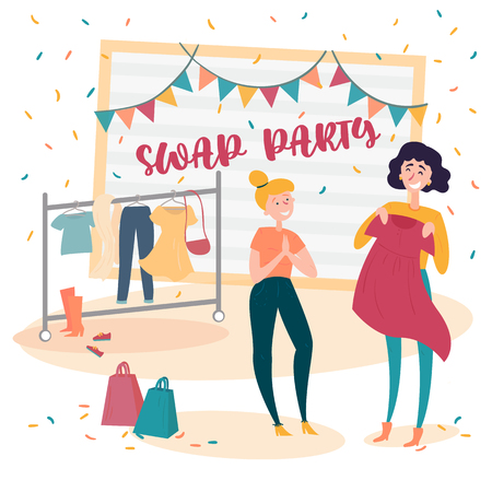 Two young social and eco responsible girls at fashion swap party. Reduce and reuse concept. Idea of exchange your old wardrobe for new. Eco-friendly cloth exchange. Vector cartoon style illustration Ilustração
