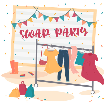 Fashion swap party. Reduce and reuse concept. Idea of exchange your old wardrobe for new. Dress, pants and bag on hanger in dressing room. Eco-friendly cloth exchange. Vector cartoon illustration