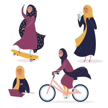 Muslim arabic girl in different situations, wearing hijab. Young contremporary, modern woman on skate, with phone and laptop, riding bicycle. Concept of equal rights and empower for all women. Be free Banco de Imagens