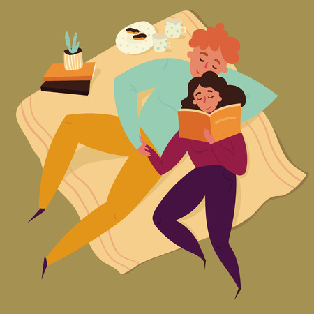 Boy and girl reading book on blanket. Home picnic. Boyfriend and girlfriend, young couple have a date. Cactus, croissant and cofee on bacground. Leisure, vacation concept. Vector flat illustration