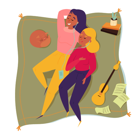 Top view of two woman friends on a picnic blanket. Couple of friends are listening to music. Home vacation and relaxation. Cat, ukulele, music sheets and cactus lying around. Vector flat illustration