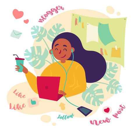 Girl female freelance blogger smm manager working at home or office. Working day of young woman, working as social media expert and writer. Black woman with laptop and coffee. Vector flat illustration Banco de Imagens - 126661472