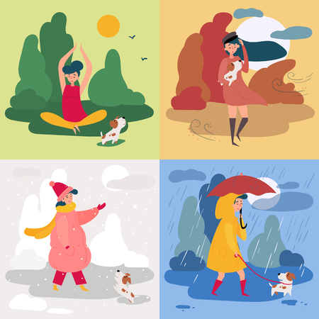 A girl in all four seasons and weather. Windy for autumn, snowy winter, rainy for spring and sunny is summer. Female in different poses and cloth, umbrella, dog and trees. Set of vector illustration Banco de Imagens - 126237838