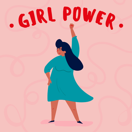 Girl power and feminist international movement concept. Single strong woman with her fist in the air. Fight for and defend your rights idea. Vector art feminine motivational poster illustration