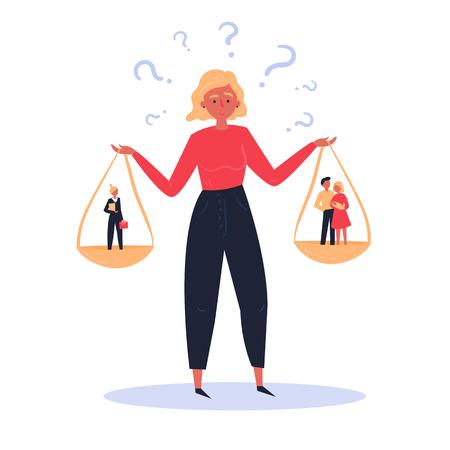 Illustration conceptuelle du choix difficile d'une femme entre carrière et famille. Balances en mains. D'un côté, une jeune famille heureuse composée d'un homme et d'une femme, de l'autre une femme en costume d'affaires et porte-documents.
