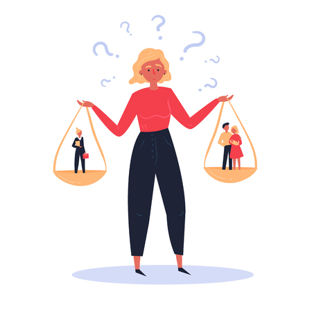 Ilustración del concepto de difícil elección de una mujer entre la carrera y la familia. Escalas en manos. Por un lado está la feliz familia joven de hombre y mujer, por el otro una mujer en traje y maletín.