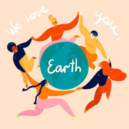 Group of diverse young women and man is dancing around the Earth globe. They are celebrating Happy Earth Day, holding hands. Eco and environment friendly ecological concept. Flat vector illustration Çizim