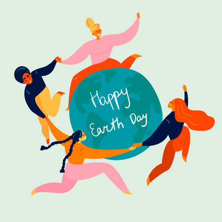 Group of young women in a circle, dancing around the Earth globe. They are celebrating Happy Earth Day holiday, holding their hands. Eco and environment friendly ecological concept. Flat vector Banco de Imagens - 124114316