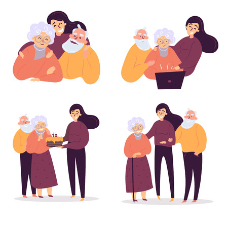 Young woman reconnect with old parents. Girl teaches them to use computer and internet, they celebrate birthday anniversary and feel support of each other. Happy family together. Daughter, mom, father