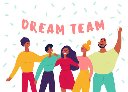 Young hipster like group of employee people stand together with raised hands. Dream team text. Great teamwork success and cooperation concept. Strartup, office or creative agency man and women. Vector Ilustração