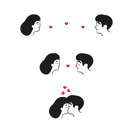 Couple in love on date is kissing. Head of woman and man, that are kissing and attracted to each other. Heart symbols and connection. Valentine s Day. Cute couple. Vector illustration in cartoon style