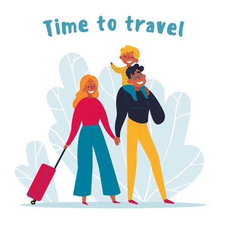 Young family traveling together. Man and woman with their kid on their way to airport. Suitcase, kid, lovely couple and time to travel text. Happy holiday in summer. Vector flat illustration Banco de Imagens - 123622252