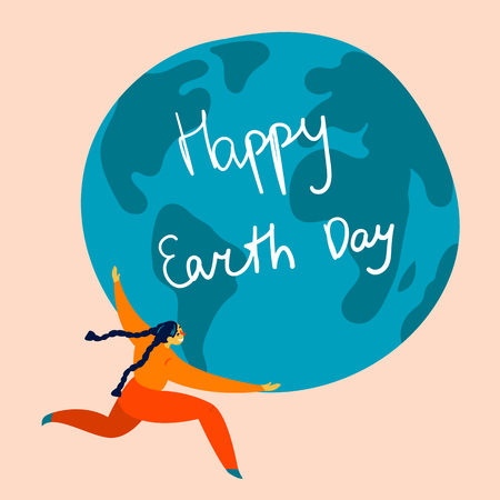 Happy Earth Day international holiday. Youn girl, woman holds earth globe in her hands. For celebration of 22 april. Environment friendly and eceology supporting concept. Flat vector illustration