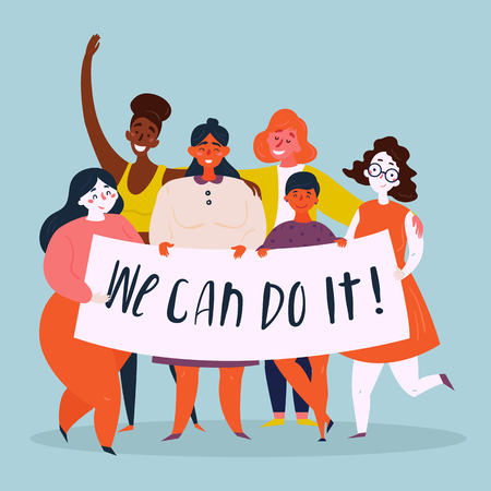 Diverse international and interracial group of young women holds We Can Do It retro poster. Strong women, girl power, empowerment concept. Female power, woman rights, protest, feminism. Vector flat