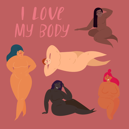 Happy body positive concept. I love my body. Attractive overweight women. Fat acceptance movement, fatphobia. Curly mature half naked group women in different poses. Milf aged pretty and happy females