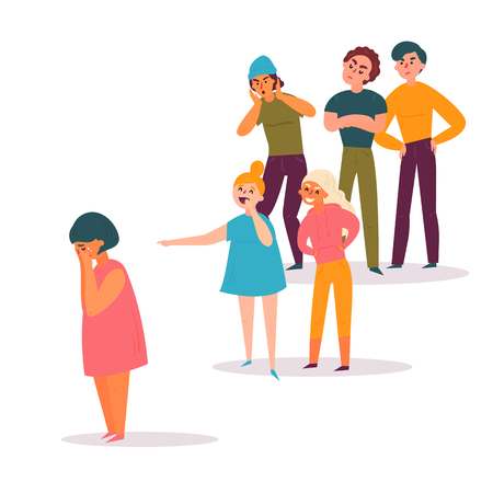 Sad teenage girl surrounded by classmates, both boys and gitls, mocking her, scoffing, pointing fingers and laughing. Problem of mockery and bullying at school. Flat cartoon colorful vector Banco de Imagens - 123333711