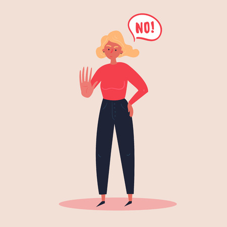 Blond woman expressing denial NO wtih her hand and in the speech bubble. Stop domestoc violence and crime against females. No means no concept, stop here. Vector flat illustration, banners and posters