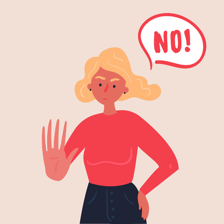 Portrait of blond woman expressing denial NO wtih her hand and in the speech bubble. Stop domestic violence and crime against females. No means no concept, stop here. Vector flat, banners and posters Ilustração