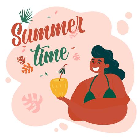 Beautiful cute sunbathed hula girl with pineapple cocktail. Hawaiian girl in swimwear bikini enjoys her vacation. Summer time text and aloha hawaii concept. Vector illustration. Ilustração