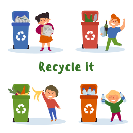 Children gathering plastic, paper, glass bottles and food waste for recycling in cans. Recycle it text. Ecological, reuse, reduce and go green concept. Vector flat illustration