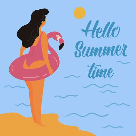 Girl with dark hair, wearing pink swimsuit and inflatable pink flamingo standing in the sunset, near the sea. Hello summer time. Relax on vacation, woman is ready to swim. Vector flat illustration. Ilustração