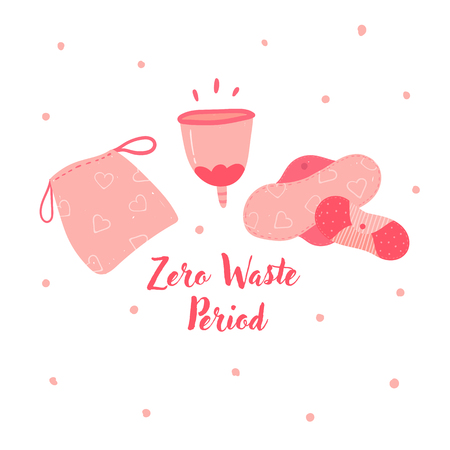 Zero waste menstrual cup and hygiene cycle reusable pads. Woman underwea eco friendly tampons, silicon economical recycle cup for gathering blood. No to plastic and pollution. Vector illustration