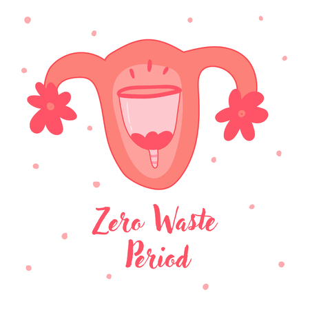 Menstrual cup use, feminine period hygiene product. Image of reusable blood volume, inserted to vagina. Anatomy, uterus and cervix. Zero waste concept. Reduce, reuse and recycle. Vector flat style