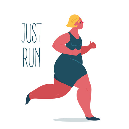 Just run. Body positive fat woman is jogging. Young lady woman exercising in running. Inspirational text. Slightly fatty and overweight girl is doing gym sports. Vector flat illustration