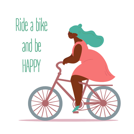 Ride a bike. Body positive cute woman cyclist. Young lady riding retro bicycle. Inspirational text. Slightly fat and overweight girl is doing sports. Vector flat illustration