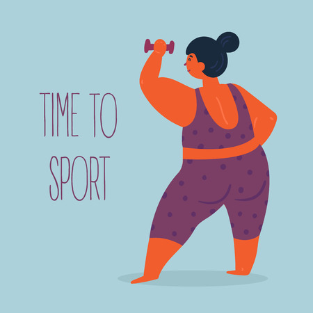 Time to sport. Woman with dumbbell in hand. Body positive cute fat with dumbbells. Young lady doing exercises. Inspirational text. Slightly fat and overweight fitness girl . Vector flat illustration