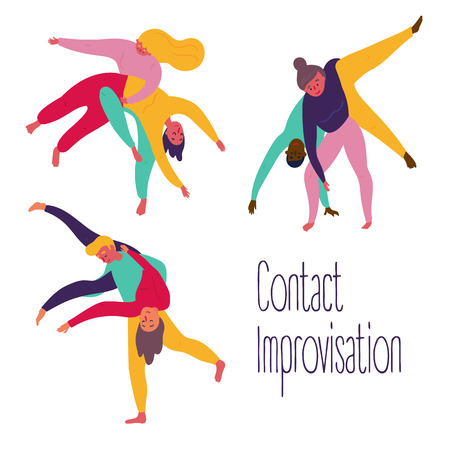Young people in yoga contact improvisation, positions set. Woman and man partner practice theatrical yoga exercise in class. Meditation movement to open your mind. Vector flat illustration Illustration