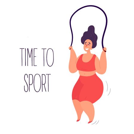 Time to sport. Body positive with rope. Young lady woman exercising using skipping jumping rope. Inspirational text. Slightly fat and overweight girl is doing sports. Vector flat illustration