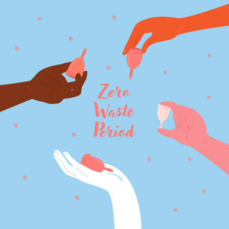 Reduce, reuse, recycle. Zero waste menstrual cups in hands. Diverse woman hands are holding girl cycle hygiene silicone containers for blood. Empowerment, economy, feminism and eco friendly concept Ilustração