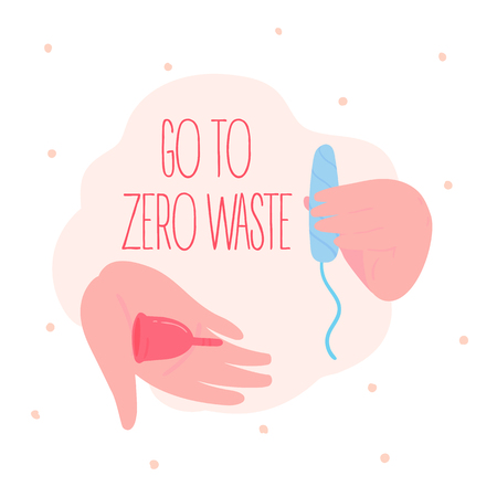 Go to zero waste. Menstrual cups. Reuse, reduce and recycle concept. Containers in comparisons to swab tampon. Hand with silicone container instead of not eco friendly cotton vagina insertion. Flat